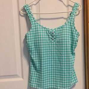 Kim Rogers swim top XL Green/White check tankini